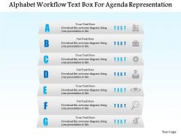 1114 Alphabet Workflow Text Box For Agenda Representation Powerpoint Template