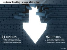 1114 An Arrow Breaking Through A Brick Floor Image Graphics For Powerpoint