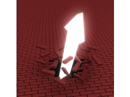 1114 An Arrow Breaking Through A Brick Surface Stock Photo