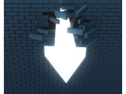 1114 An Arrow Breaking Through A Brick Wall For Success Stock Photo