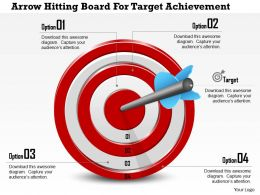 1114 Arrow Hitting Board For Target Achievement Powerpoint Template