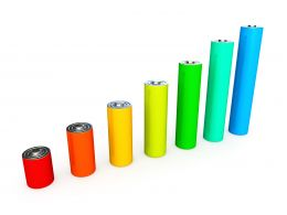 1114 Bar Graph Of Colorful Battery Cells Stock Photo