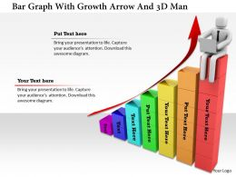 1114 Bar Graph With Growth Arrow And 3d Man Ppt Graphics Icons