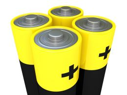 1114 Battery Cells With Positive Marks Stock Photo