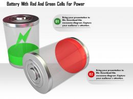 1114 Battery With Red And Green Cells For Power Image Graphic For Powerpoint