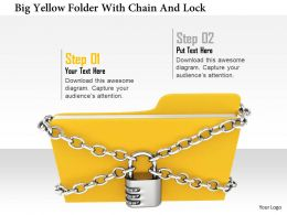 1114 Big Yellow Folder With Chian And Lock Image Graphic For Powerpoint
