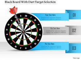 1114 Black Board With Dart Target Selection Powerpoint Template