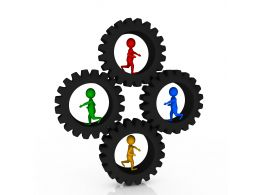1114 Black Gears And 3d Men Inside It For Process Control Stock Photo