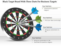 1114 Black Target Board With Three Darts For Business Targets Powerpoint Template