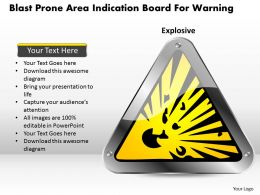 1114 Blast Prone Area Indication Board For Warning Powerpoint Template