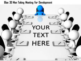 1114 Blue 3d Man Taking Meeting For Development Ppt Graphics Icons