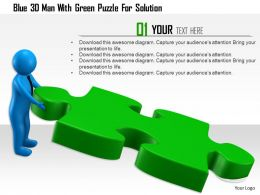 1114 Blue 3d Man With Green Puzzle For Solution Ppt Graphics Icons