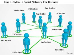 1114 Blue 3d Men In Social Network For Business Ppt Graphics Icons