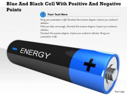 1114 Blue And Black Cell With Positive And Negative Points Image Graphic For Powerpoint
