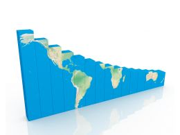 1114 Blue Bar Graph With World Map Stock Photo