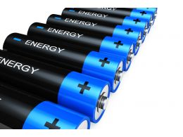 1114 Blue Black Battery Cells On White Background Stock Photo