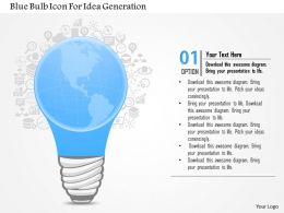 1114 Blue Bulb Icon For Idea Generation Presentation Template