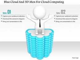 1114 Blue Cloud And 3d Men For Cloud Computing Ppt Graphics Icons