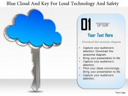 1114 Blue Cloud And Key For Cloud Technology And Safety Image Graphics For Powerpoint