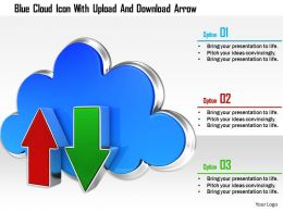 1114 Blue Cloud Icon With Upload And Download Arrow Image Graphics For Powerpoint