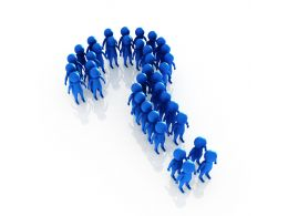 1114 Blue Colored 3d Men Making Question Mark Stock Photo