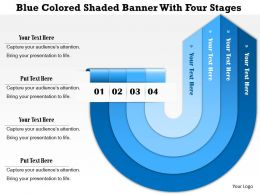 1114 Blue Colored Shaded Banner With Four Stages Powerpoint Template