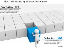 1114 Blue Cube Pushed By 3d Man For Solution Ppt Graphics Icons