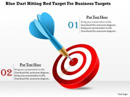 1114 Blue Dart Hitting Red Target For Business Targets Powerpoint Template
