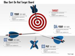 1114 Blue Dart On Red Target Board Image Graphics For Powerpoint