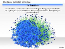 1114 Blue Flower Bunch For Celebration Image Graphic For Powerpoint