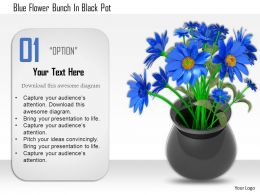 1114 Blue Flower Bunch In Black Pot Image Graphic For Powerpoint