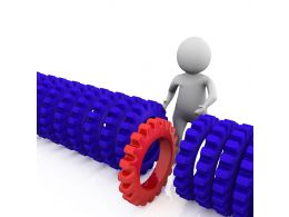 1114 Blue Gears With Red Gear Out For Leadership Stock Photo