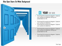 1114 Blue Open Doors On White Background Image Graphics For Powerpoint