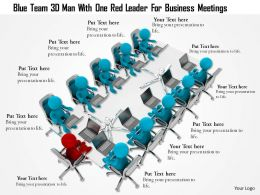 1114 Blue Team 3d Men With One Red Leader For Business Meetings Ppt Graphics Icons