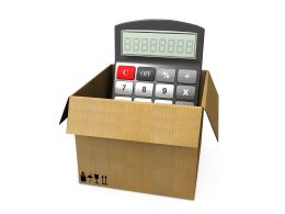 1114 Box With Calculator For Cost Calculations Stock Photo