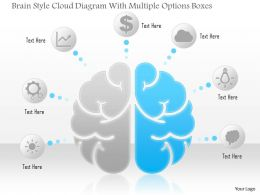 1114 Brain Style Cloud Diagram With Multiple Options Boxes Powerpoint Template