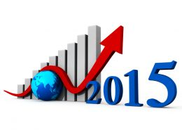 1114 Business Bar Graph With 2015 And Globe Stock Photo