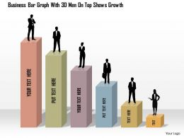 1114 Business Bar Graph With 3d Men On Top Shows Growth Powerpoint Template