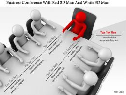 1114 Business Conference With Red 3d Man And White 3d Men Ppt Graphics Icons