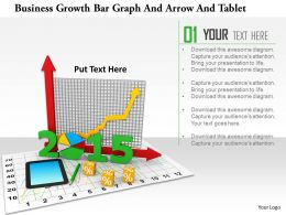 1114 Business Growth Bar Graph And Arrow And Tablet Image Graphic For Powerpoint