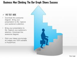 1114 Business Man Climbing The Bar Graph Shows Success Powerpoint Template