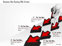 1114 Business Man Running With Arrows Ppt Graphics Icons