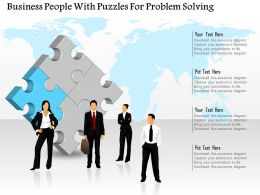 1114 Business People With Puzzles For Problem Solving PowerPoint Template