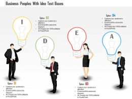 1114 Business Peoples With Idea Text Boxes PowerPoint Template