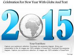1114 Celebration For New Year With Globe And Text Powerpoint Template