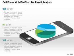 1114 Cell Phone With Pie Chart For Result Analysis Presentation Template