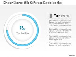 1114 Circluar Diagram With 75 Percent Completion Sign Powerpoint Template