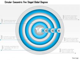 1114 Circular Concentric Five Staged Global Diagram Powerpoint Template