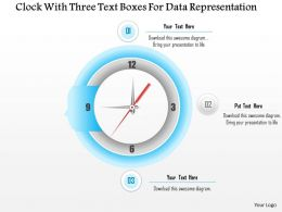 1114 Clock With Three Text Boxes For Data Representation Powerpoint Template