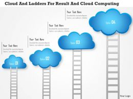 1114 Cloud And Ladders For Result And Cloud Computing PowerPoint Template